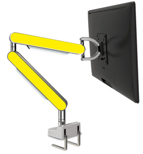 Zgo Technologies, Single Monitor Arm. Polished With Yellow Side Panels.