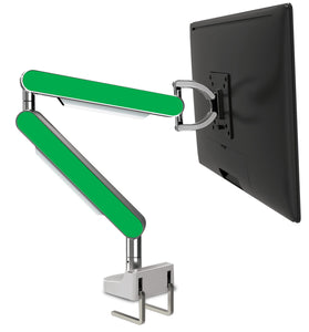 Zgo Technologies, Single Monitor Arm. Polished With Green Side Panels.