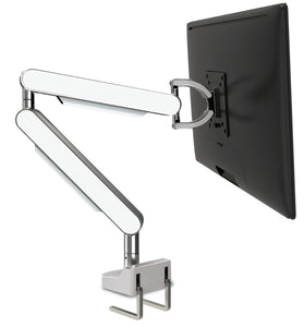 Zgo Technologies, Single Monitor Arm. Polished With White Side Panels.