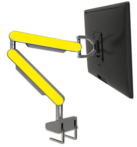 Zgo Technologies, Single Monitor Arm. Silver With Purple Side Panels.