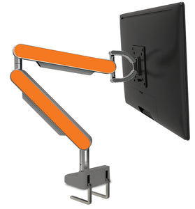 Zgo Technologies, Single Monitor Arm. Silver With Blue Side Panels.