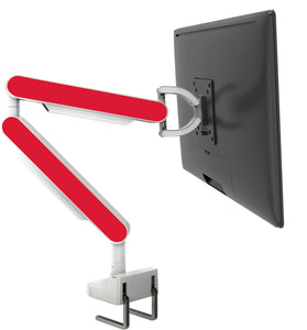 Zgo Technologies, Single Monitor Arm. White With Purple Side Panels.