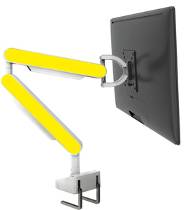 Zgo Technologies, Single Monitor Arm. White With Violet Side Panels.