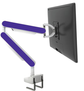 Zgo Technologies, Single Monitor Arm. White With Blue Side Panels.