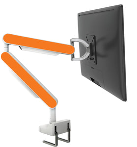 Zgo Technologies, Single Monitor Arm. White With Silver Side Panels.