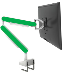 Zgo Technologies, Single Monitor Arm. Silver With White Side Panels.