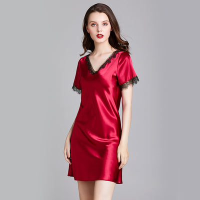 Dressystar Women Nightgowns Sexy Sleep Shirts Lace Trim V Neck Short Sleeve Sleepwear