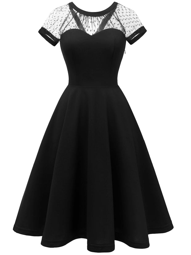 Dresssystar Black Dress 1950s Vintage Cocktail Party Dress