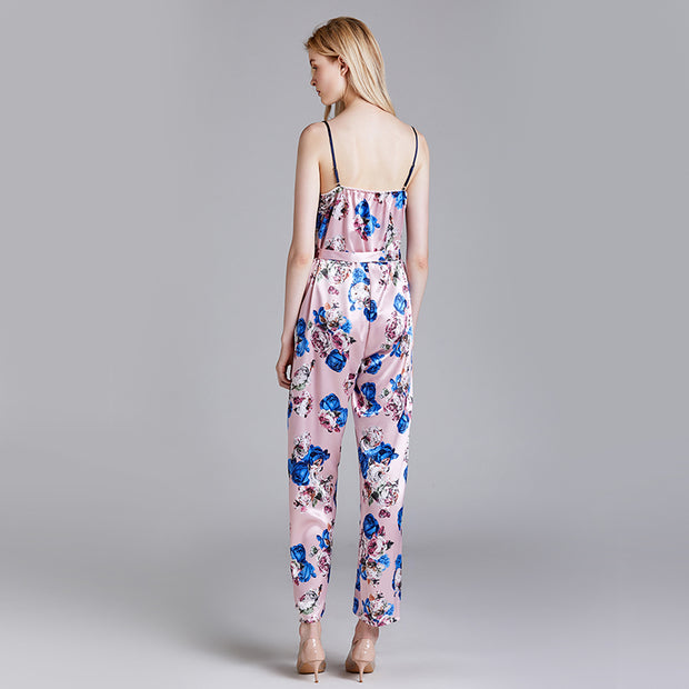 Dressystar Pink Women's Floral Printed Jumpsuits Solid Rompers Casual Comfy Striped Jumpsuit