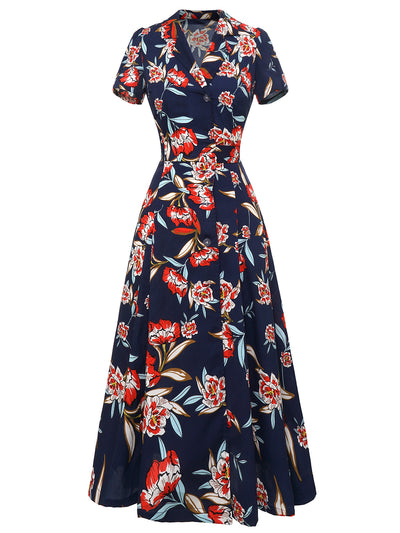 Dressystar Navy Summer Dress Floral Print Maxi Dress
