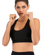 High Impact Strappy Criss Cross Sports Bras in Black