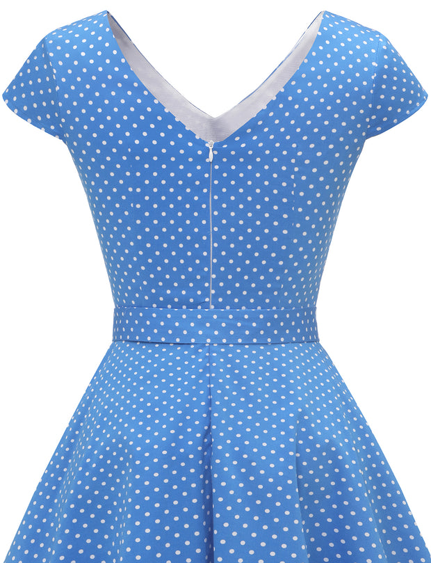 Dressystar women short v neck cap sleeve vintage dress VT50 bluedot back detail