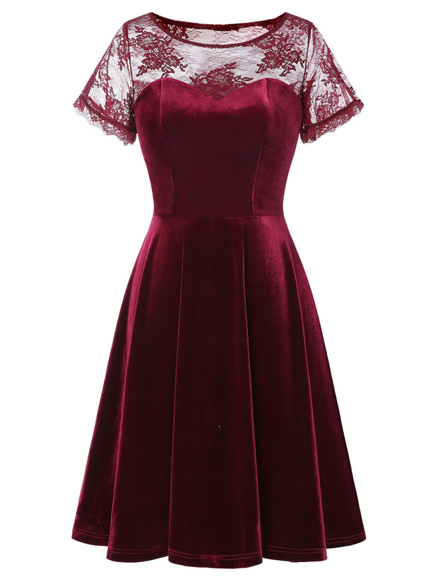 Dressystar Burgundy Velvet A-line Dress with Lace Cap Sleeve