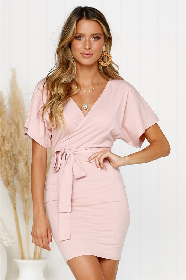 Dressystar Pink Women Summer V Neck Casual T Shirt Dress