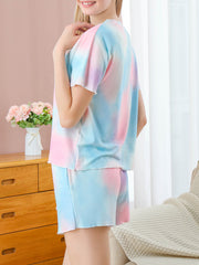Dressystar 2 Pieces Short Pajama Sets Tie Dye Loungewear Nightwear Printed Sleepwear