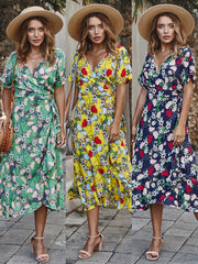 Dressystar Green Women V Neck Floral Summer Casual Dress