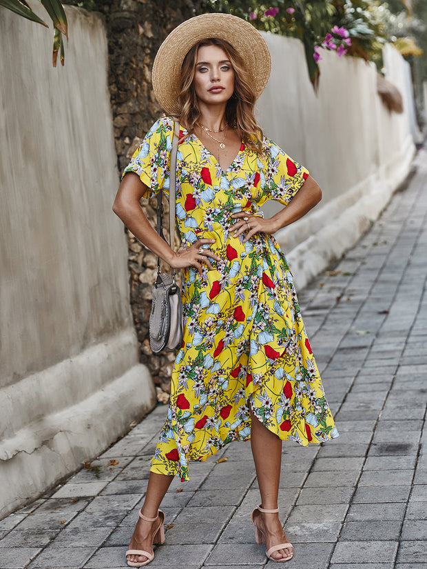 Dressystar Yellow Women Floral Maxi Dresses Boho Beach Party Dress