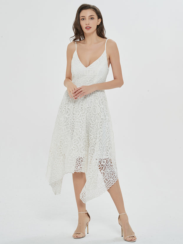 Romantic Swing White Lace Asymmetrical Midi Dress