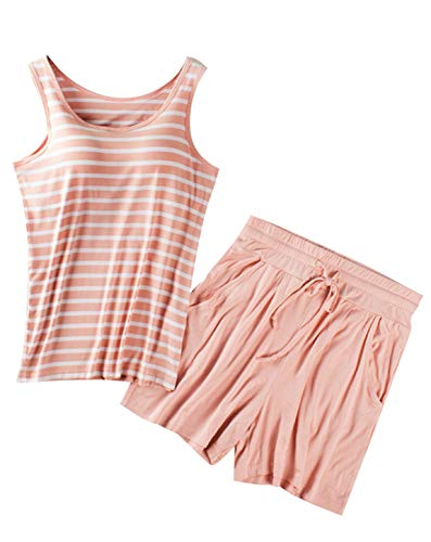Dressystar Pink Cotton Summer Pajamas Set Top and Short