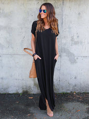 Dressystar Black Women Casual Loose Pocket Long Dress Split Maxi Dress