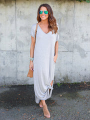 Dressystar Grey Women Casual Loose Pocket Long Dress Short Sleeve
