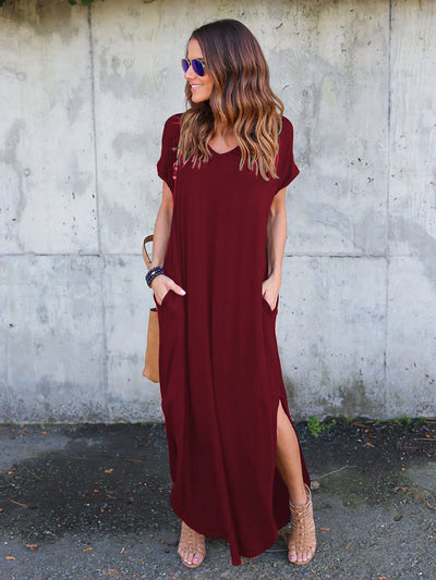 Dressystar Burgundy Women Short Sleeve Maxi Dresses Casual Long with Pockets