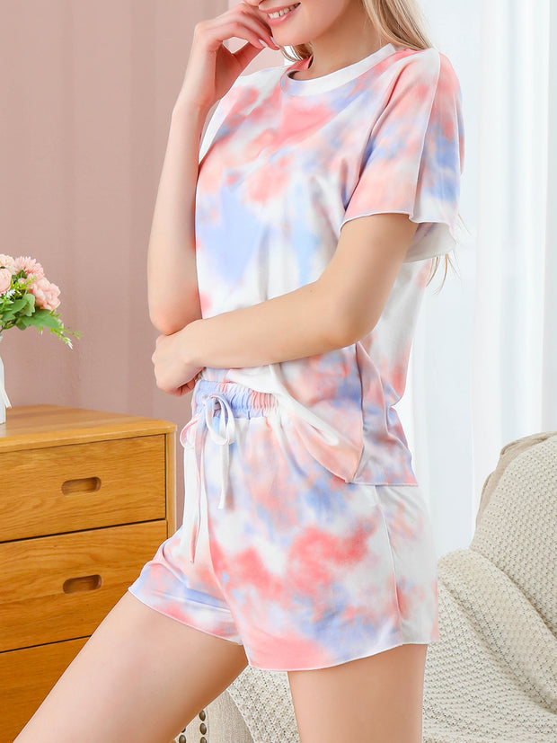 Dressystar Orange Pajamas for Women Tie Dye Printed Pajamas Set Sleepwear Nightwear