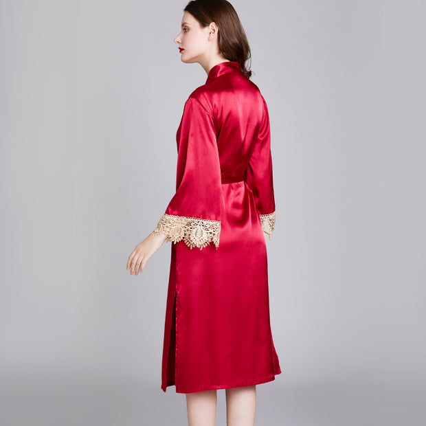 Dressystar Women Burgundy Kimono Robe Satin Bridal Dressing Gown Bride Bridesmaid Robes Sleepwear
