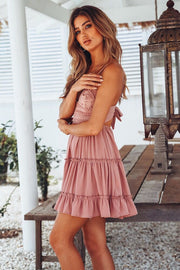 Dressystar Pink Women Lace Casual Dress Beach with Straps