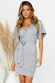 Dressystar Grey Women Summer V Neck Casual T Shirt Dress