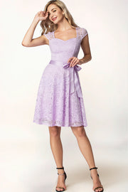 Floral Lace Short Bridesmaid Dresses Lavender