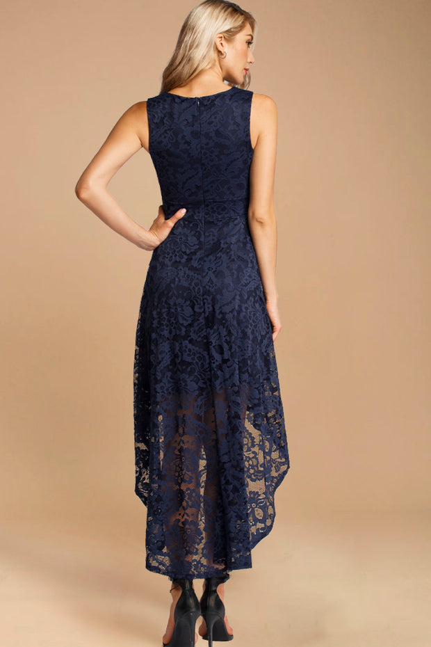 Lace Hi-Lo Maxi Dress Navy Blue