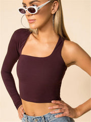 Basic Red One Shoulder Crop Top