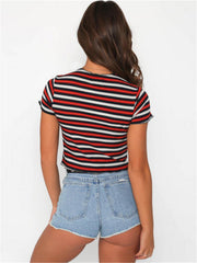 Basic Stripe Fitted T Shirt