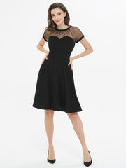 Black Mesh Short Sleeve Skater Dress