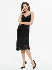 Black Velvet Sleeveless Fringe Midi Dress