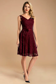 v neck short lace dress with belt burgundy