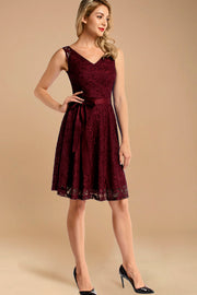 v neck short lace bridesmaid dress with belt burgundy