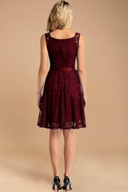 burgundy v neck lace bridesmaid dress with belt