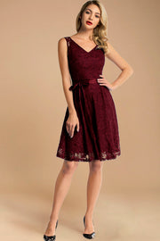 burgundy short lace dress with belt