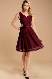 burgundy short sleeveless lace dress with belt