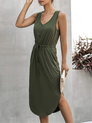Cozy Olive Green Midi Dress