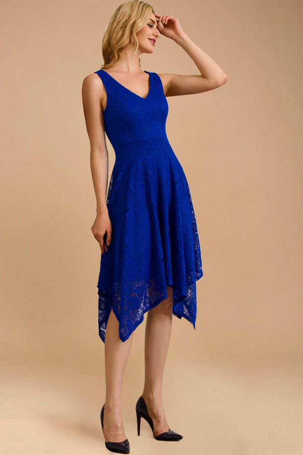 Lace Asymmetrical Handkerchief Hem Swing Dress Royal Blue