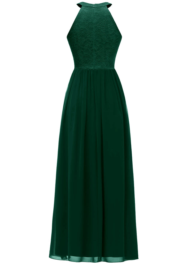 Dressystar Women Halter Long Formal Maxi Party Prom Dress Green