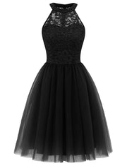 Dressytar Women Cocktail Party Dress Lace Black