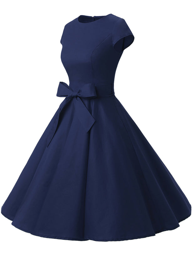 Navy 1950s Vintage Dress Cap Sleeve