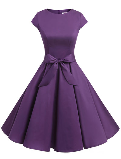 Purple 1950s Vintage Dress Cap Sleeve