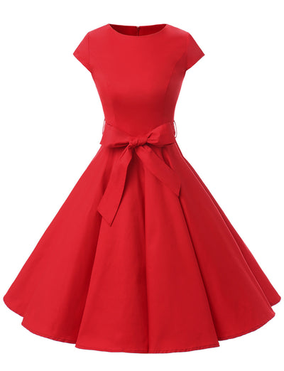 Red 1950s Vintage Dress Cap Sleeve