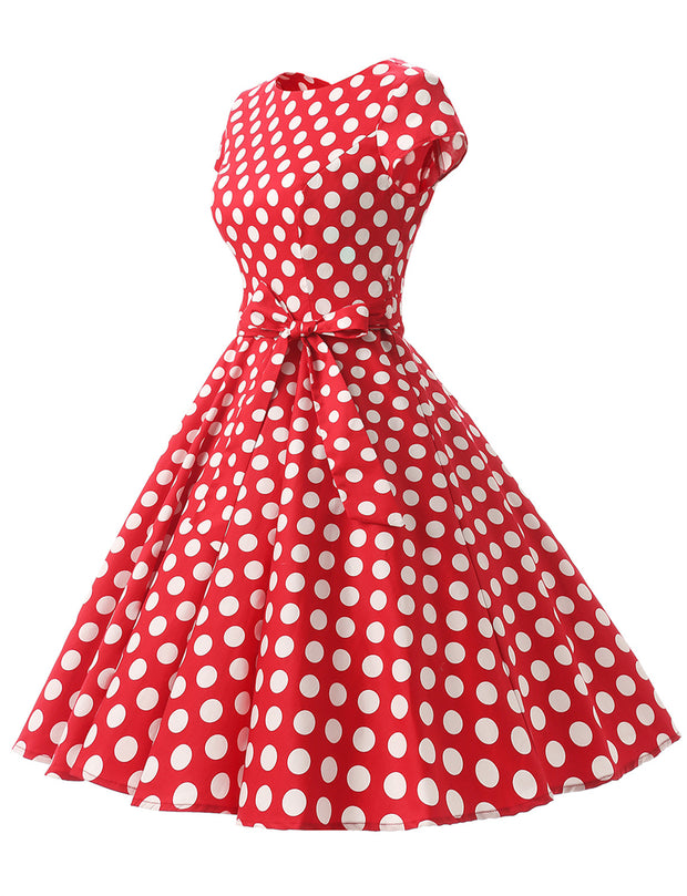 Red White Dot B 1950s Vintage Dress Cap Sleeve