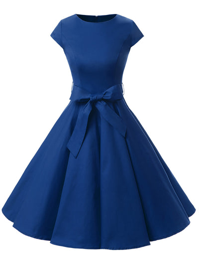 Royal Blue 1950s Vintage Dress Cap Sleeve